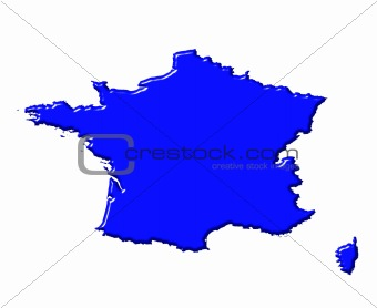 France 3d map with national color