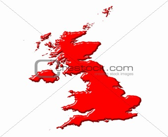 Great Britain 3d map with national color