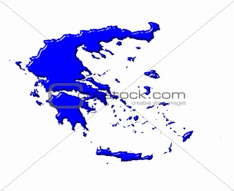 Greece 3d map with national color