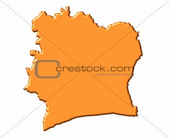 Ivory Coast 3d map with national color
