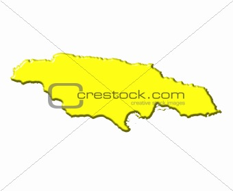Jamaica 3d map with national color