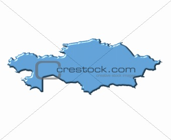 Kazakhstan 3d map with national color