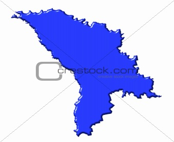 Moldova 3d map with national color