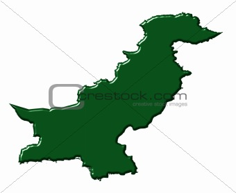 Pakistan 3d map with national color
