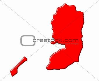 Palestine 3d map with national color