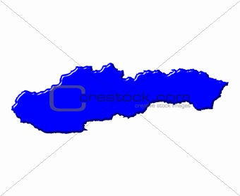 Slovakia 3d map with national color