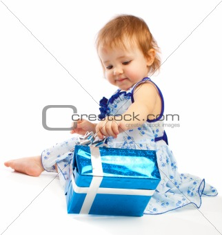 Toddler with present