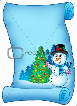 Blue parchment with snowman and tree
