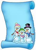 Blue parchment with snowman family