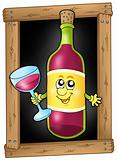 Cartoon wine on blackboard