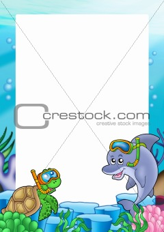 Frame with turtle and dolphin