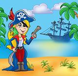 Pirate girl on beach 2