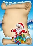 Winter parchment with Santa and gift