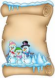 Winter parchment with snowman family