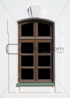 Old window with absolutely black glasses