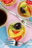Fruit pastries and tea
