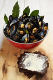 Mussels with pumpernickel