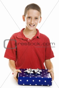 Boy with Holiday Gift