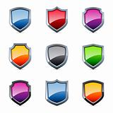 Glossy shield icons