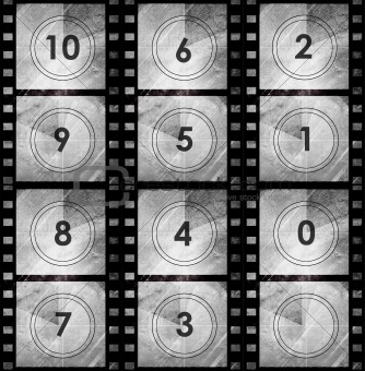 Grunge film countdown in dark color