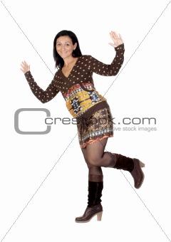 Beautiful brunette girl balancing