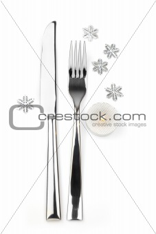 knife, fork with snowflakes and candle