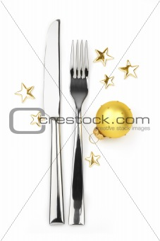 knife and fork with bauble and stars
