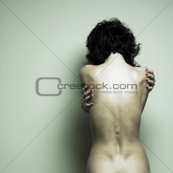 Nude sexy woman. Human's back.