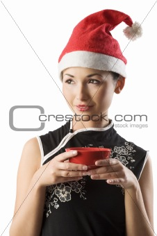 asian girl with santa claus hat