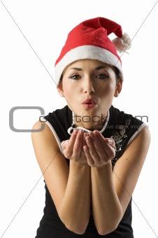 asian santa claus blowing