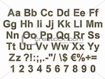 Arial Black Alphabet stylized to electronic board