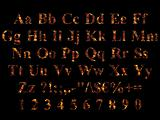 Times New Roman Alphabet stylized to charred embers