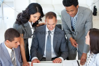 Business team discussing a project in office