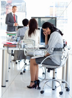 Tired businesswoman in a meeting