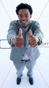 Afro-American businessman with thumbs up