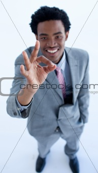Afro-American businessman showing ok sign