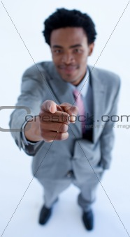 Afro-American businessman pointing at the camera