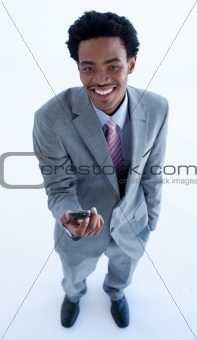 Afro-American businessman holding a mobile phone