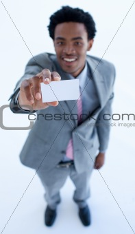 African businessman showing a small business card