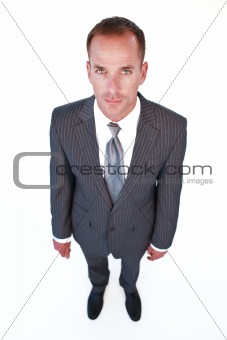 High angle of a serious businessman