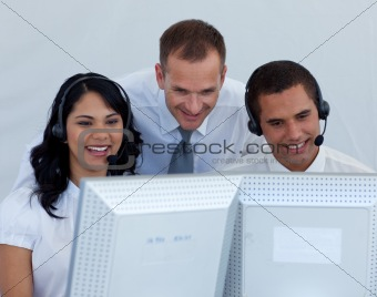 Business team working in a call canter
