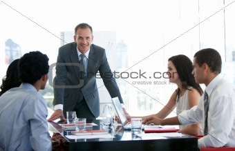 Business people talking about a new business plan