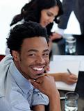 Portrait of a smiling Afro-American businessman in a meeting