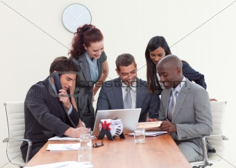 Group of people working in a business meeting