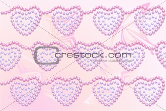 Beads hearts pink background