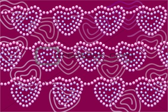 Beads hearts on dark-red background