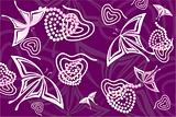 Purple hearts and butterflies background