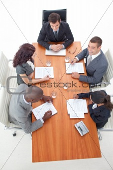 High Angle of business people having a meeting