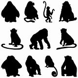 apes silhouettes set
