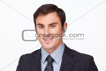 Attractive businessman with a headset on